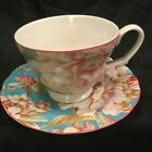 222 Fifth Marley Teal Floral Coffee Cup.Over Size Cup.Tea Cup/Saucer TLC SAUCER