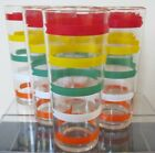 6 Vintage MCM Anchor Hocking FIESTA STRIPE Banded Arrow Tumblers-6 1/2