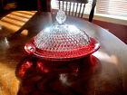 King Crown Diamond  Ruby Flashed Butter Dish With Cover.