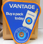 Vintage Tin Vantage Cigarette sign with Thermometer Triangle Shape Great Shape