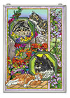CATS Feline Collage Suncatcher NEW Hand Painted Glass AMIA Large 115x1575