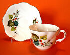 Lefton England - Tea Cup And Saucer - Orange Flowers And Moss Green Leaves