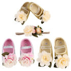 Baby Girl Infant Shoes Sneaker Anti slip Hand Soft Toddler Shoes+1PC Hairband