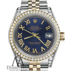 Rolex 36mm Datejust 2 Tone Navy Blue Gold Roman 18K Stainless Steel with Diamond