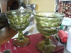 20#  8 Indiana Glass Green Thumbprint TALL WINE WATER GOBLETS PERFECT CONDITION