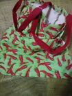 Canvas Eco shopping tote bag lime chili pepper print natural cotton womens