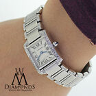 Ladies SS Cartier Tank W51008Q3 with Natural Diamonds Complete with Box