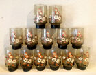Lot (13) VTG 70's Libbey Tawny Butterfly Glasses Stackable Tumblers 12