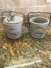 Stoneware Vintage Crock - Wisconsin Homestead Lot Of 2 Wire Handle