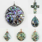 New Natural Paua Abalone Shell Wire Wrap Tree of Life Pendants Bead for Necklace