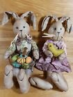 NEW!! Primitive Grungy Folk Art Spring Bunny Couple Rabbit Doll Easter