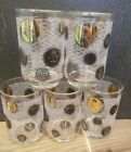 Gold Libby Coin Glasses white stripes Mad Men MCM tumblers