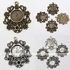 10x Tibetan Silver Round Flower Photo Picture Frame Charms Pendant Findings DIY