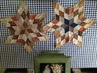 2 Beautiful Vintage Antique 6 Pointed Cloth Stars!!