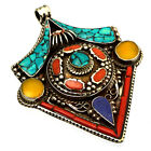Turquoise Coral Silver Plated Pendant Tibetan Nepalese Tribal Tibet Nepal UP858