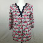 Crown  Ivy Blouse Size Small Polka Dot Top Elephants 3 4 Sleeve Top