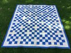 Ca 1920s-1930s Cotton Nine Patch hand quilted Quilt 64 x 71 Blue White Patchwork