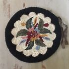 Vintage Antique Hand Hooked Round Wool Rug Mat Chair Seat Cover Black Floral