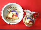Lefton Pitcher And Bowl Set - Hand Painted - Light Geen With Fruit  - Japan
