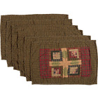 TEA CABIN Quilted Placemat Set/6 Log Cabin Block Green/Red/Tan Lodge VHC Brands