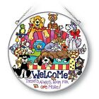 Dogs Welcome Sun Catcher AMIA Hand Painted Glass 65 Always Room For One More