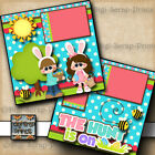 THE HUNT IS ON easter egg 2 premade scrapbook pages paper piecing DIGISCRAP