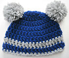 CROCHET BABY POM POM HAT cap knit  beanie blue boy/girl photo prop MADE in USA