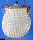 Antique French 1910s / 1920s Grey Beaded Purse Hand Bag w Chain Handle