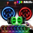 7 RGB LED Halo Headlights + Fog Light Combo Kit For Jeep Wrangler JK 2007 2017