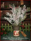 Primitive Antique Tin Pitcher Santa Label with Xmas Tree Greens