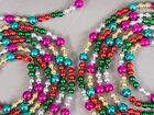 2 Vintage Christmas Tree Multicolored Plastic Beads Garland Decoration 104 each