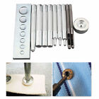 Set of 11 Die Punch Hole Snap Rivet Button Setter Base Kit For DIY Leather Tools