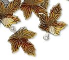 100 Antiqued Silver Plated Brass  Brown Enamel 13x12mm Maple Leaf Charms