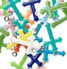 120 Silver Plated Brass  Epoxy 15x9mm Double Sided Cross Charm Mix