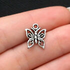 12 Small Butterfly Charms Antique Silver Tone SC1881