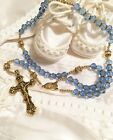 Reduced Beautiful Handcrafted Rosaries Blue Czech Glass gold Rosaries