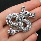 2 Dragon Charms Antique Silver Tone Extra Large and Beautiful Details SC1497