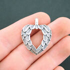 5 Angel Wings Heart Charms Antique Silver Tone with Beautiful Details SC5036