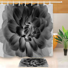 Blooming Black and White Flower Shower Curtain Set Waterproof Fabric