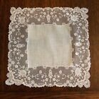 Antique Fine Lace Border Wedding Hankerchief, 11 1/2