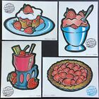 Vintage Classic Set of 4 Mello Smello Scratch  Sniff Stickers Strawberry