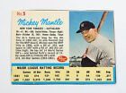 1962 Post Mickey Mantle Ad Back #5 New York Yankees Ex Mt
