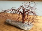 VINTAGE COPPER WIRE DRIFTWOOD BONSAI TREE OF LIVE SCULPTURE