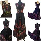 Sleeveless Fit and Flare Full Maxi Lace Up Hand Embroidered Boho Dress 14 16 18