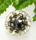 NICE VICTORIAN CARVED PEARL BUTTON WITH CUT STEEL STAR D73