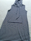 Heart And Hips Striped Hooded Sleeveless T Shirt Summer Dress Blue White Size L