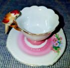 PARROT BIRD HANDLE HAND PAINTED PINK CUP AND SAUCER M T MINIATURE JAPAN IN BOX