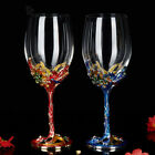 2 Pcs Enamel Swarovski Crystal Cups Red Wine Glass Goblet Home Decoration Gifts