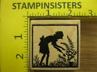 Rubber Stamp Lets Garden Silhouette Hero Arts Lady Plant Stampinsisters 1542