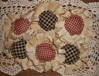 Handmade Primitive Burgundy and Black Fabric Flower Ornies/Bowl Fillers Set of 6